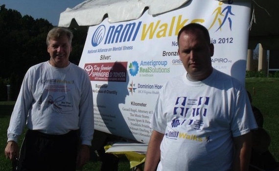 Pete Earley and His Son at the NAMI Walk in 2012